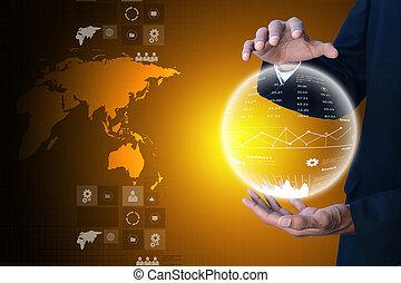 globe, het tonen, zakenmens