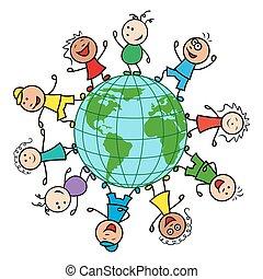 globe, heureux, autour de, gens