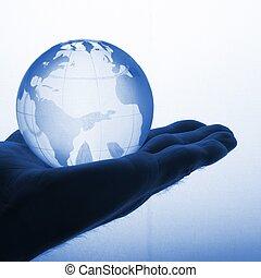 globe, holdingshand