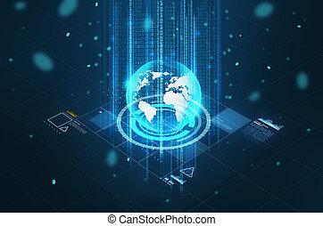 globe, hologramme, virtuel, écran, la terre