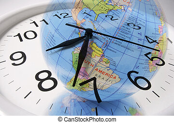 globe, horloge