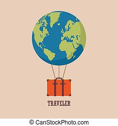 globe hot air balloon with travel bag
