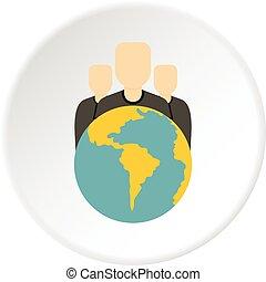 globe, icône, groupe, cercle, gens
