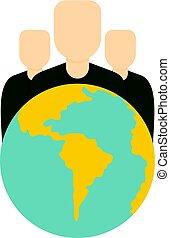 globe, icône, groupe, isolé, gens