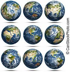 globe, icônes, ensemble
