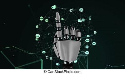 globe, icônes, former, numérique, toile, robotique, connexions, toucher, composite, main, vidéo, encore
