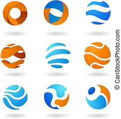 globe, icônes, résumé