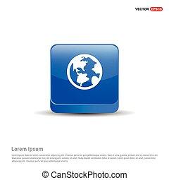 Globe Icon - 3d Blue Button