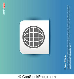 globe icon - Blue Sticker button