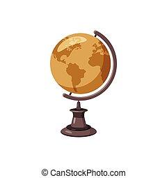 Globe icon, cartoon style