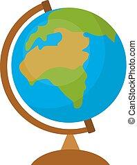 Globe icon, flat, cartoon style. Isolated on white background. Vector illustration.
