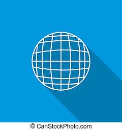 Globe icon, flat style
