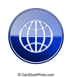 Globe icon glossy blue, isolated on white background