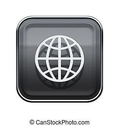 Globe icon glossy grey, isolated on white background