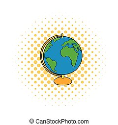 Globe icon in comics style