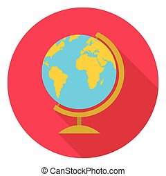 Globe icon in flat style isolated on white background. School symbol stock vector illustration.
