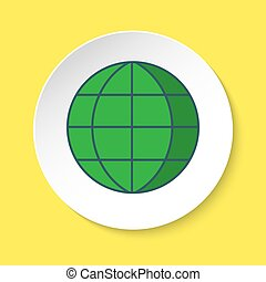 Globe icon in flat style on round button