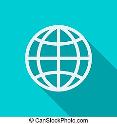 Globe icon in flat style