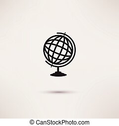 Globe Icon in the flat style