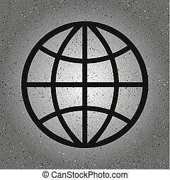 Globe Icon in trendy isolated on grey background. World globe symbol for your web site design, logo, app, UI. Vector illustration, EPS10.