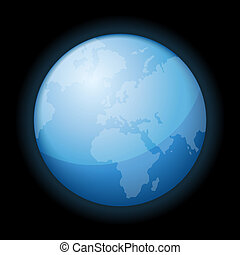 Globe Icon of the World on Black Background. Vector