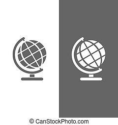 Globe icon on black and white background