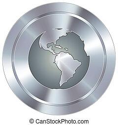 Globe icon on industrial button - Globe icon on round...