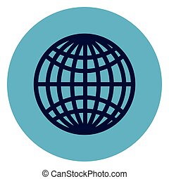 Globe Icon On Round Blue Background