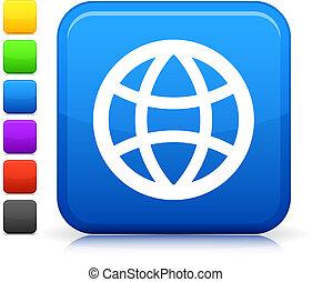 globe icon on square internet button