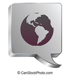 Globe icon on steel bubble - Globe icon on stainless steel ...