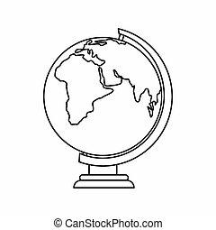 Globe icon, outline style