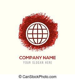 globe icon - Red Water Color Circle Splash