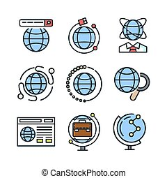 globe icon set color