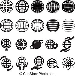 Globe Icon set for your design Fully editable