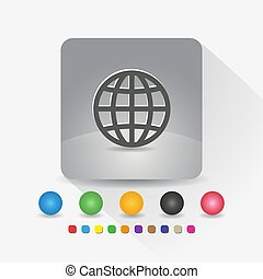 Globe icon. Sign symbol app in gray square shape round corner with long shadow vector illustration and color template.