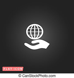 Globe icon with hand