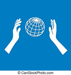 Globe Icon with Hands on Blue Background. Vector