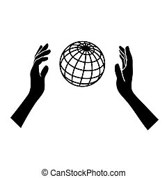 Globe Icon with Hands on White Background. Vector