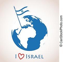 Globe icon with Israel flag