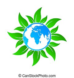 Globe icon with leaves. Vector illustration
