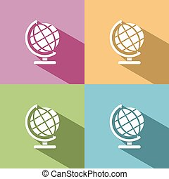 Globe icon with shade on colored background