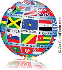 globe., iinternational, vektor, lobogó