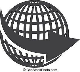 globe, illustration, arrière-plan., vecteur, flèche noire, blanc, icône