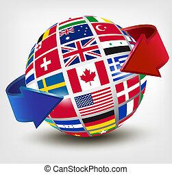 globe, illustration, arrow., vecteur, drapeaux, mondiale