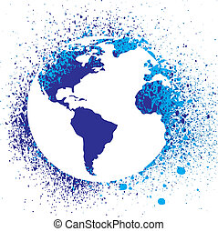 globe, illustration., encre, éclaboussure