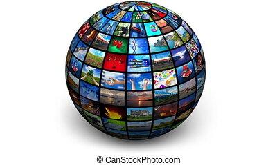 globe, image, tourner