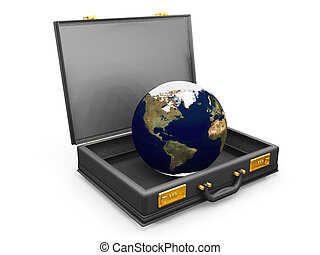Globe in a briefcase - 3D render of a globe in a briefcase