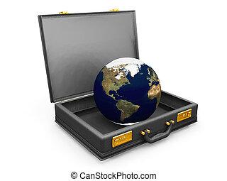 Globe in a briefcase - 3D render of a globe in a briefcase