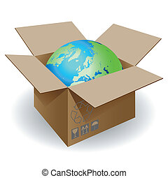 Globe in a cardboard box