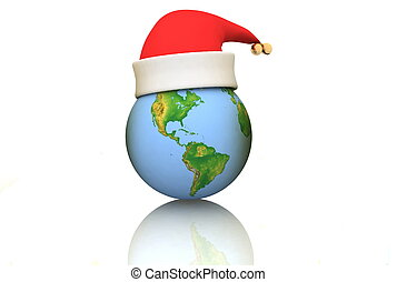 Globe in a christmas cap